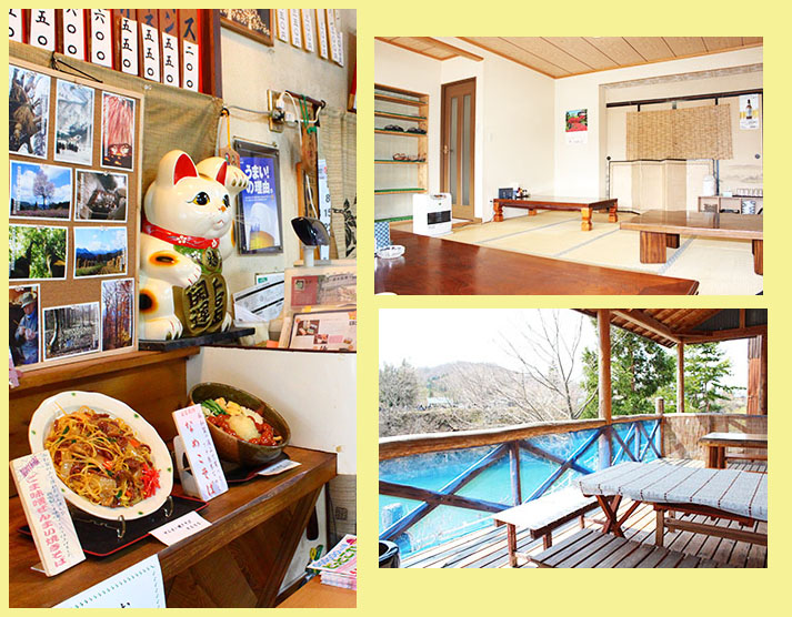店内は、テーブル席、座敷の個室、そして和賀川を見渡せるテラス席があります。